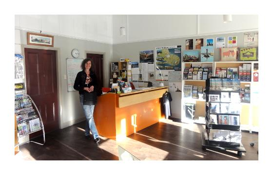 Wendy in the Lyttelton Information Centre